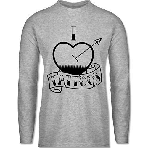 Shirtracer I Love - I Love Tattoos - S - Grau meliert - Liebe - BCTU005 - Herren Langarmshirt