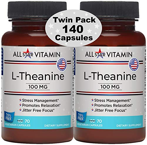 L-Theanine, 100 mg, 70 Vegetarian Capsules, 2 Pack (140 Total), Stress Free, Relaxation, Focus, Non-GMO, Gluten Free, All-Star Vitamin