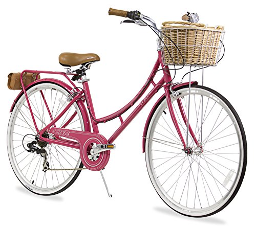 XDS Nadine City 7-Speed Step-Through Bicycle (w/ Front Basket, Rear Rack, Bag), 17'/700C ,...
