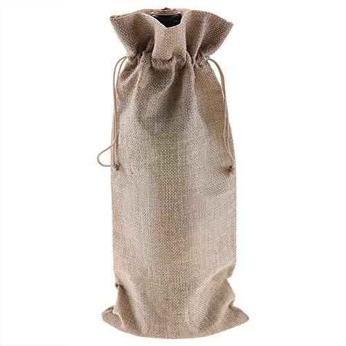Zerodis Bolsas de Vino Tinto de 12 Piezas para Botellas de Vino Tela de Lino Simple con Cubierta Decorativa de champán con cordón(Beige)