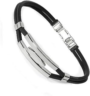 Men's Stainless Steel Hexagon Black Rubber Bracelet