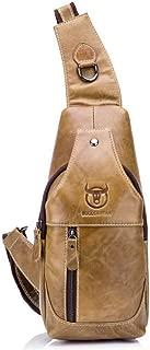 Crossbody Bag Retro Men's Leather One Shoulder Crossbody Leather Chest Cross Body Bag Casual Crossbody Bag (Color : Bronze, Size : M)