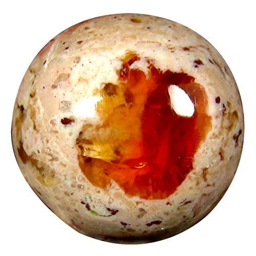 マトリックスファイヤーオパール ルースストーン 12.86 ct Round Cabochon (15 x 15 mm) Un-Heated Mexican Matrix Fire Opal Loose Gemstone