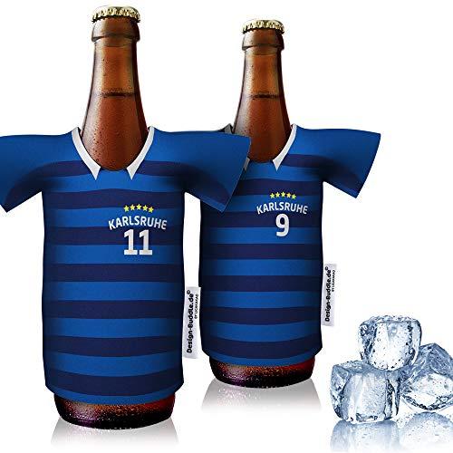 vereins-Trikot-kühler Home für Karlsruher SC Fans   2er Fan-Edition  2X Trikots   Fußball Fanartikel Jersey Bierkühler by Ligakakao
