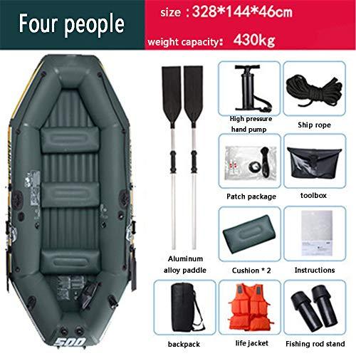 XFSD Verdicktes PVC-Kajak für den Außenbereich, 3/4-Personen-Schlauchboot mit Fischerboot, Gummiboot Hovercraft, mit Aluminium-Doppelrudern, motorisch montierbar, Schwimmweste + Aufbewahrungsrucksack - 4
