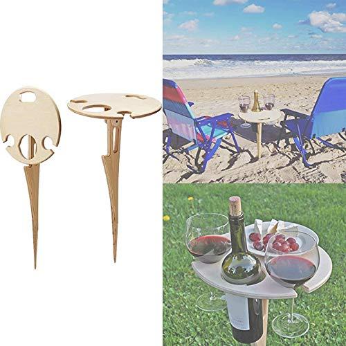 1/2 Stück Mini Outdoor Faltbarer Weintisch mit Glashaltern Tragbarer hölzerner runder Tisch für Picknick Beach Camping Road Trip (1pcs)