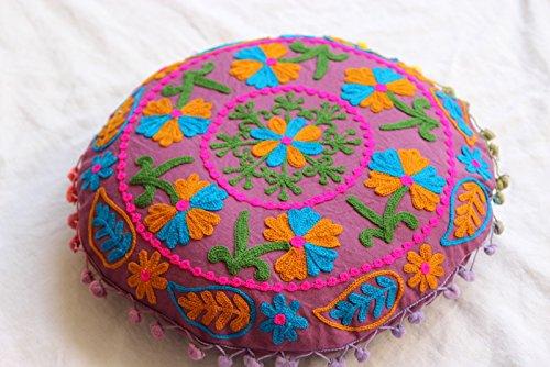 HANDICRAFTOFPINKCITY Embroidered Suzani Cushion Cover Cotton Ottoman Handmade Round Throw Pillow Case Indian Pouffe 16'' by HANDICRAFTOFPINKCITY