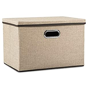 Prandom Large Collapsible Storage Bins with Lids [1-Pack] Jute Fabric Foldable Storage Boxes Organizer Containers Baskets Cube with Cover for Home Bedroom Closet Office Nursery (17.7×11.8×11.8)
