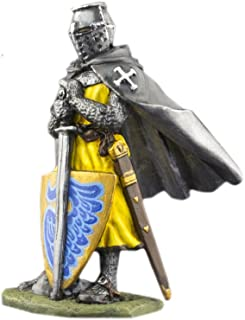 Ronin Miniatures Grand Master of the Knight Hospitaller Hand Painted Tin Metal 54mm Action Figures Toy Soldiers Size 1/32 Scale for Home Décor Accents Collectible Figurines ITEM #Or-01a
