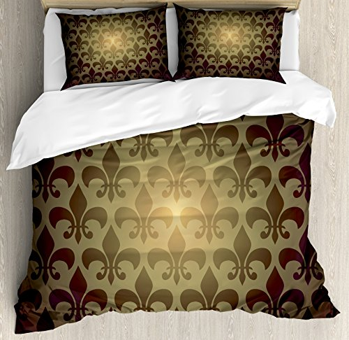 Ambesonne Fleur De Lis Duvet Cover Set, Royal Lily Flower Inspired Floral Baroque Style Dark Pattern Modern Style Artwork, Decorative 3 Piece Bedding Set with 2 Pillow Shams, Queen Size, Brown