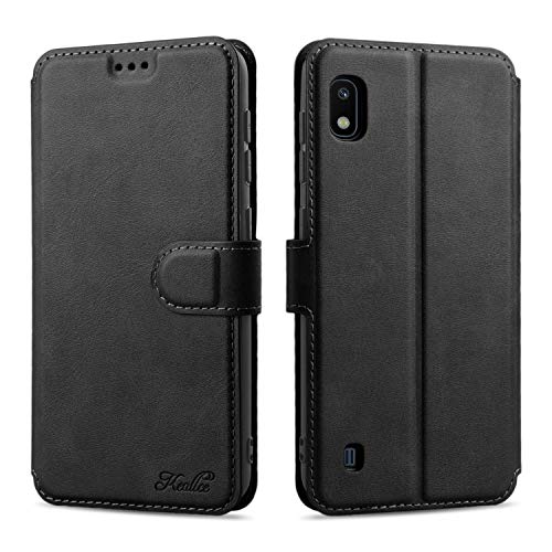 Keallce für Samsung Galaxy A10 Hülle, Handy Lederhülle PU Leder Hülle Brieftasche Handytasche Cover Kompatibel für Samsung Galaxy A10 Ledertasche-6.2 inch, Schwarz