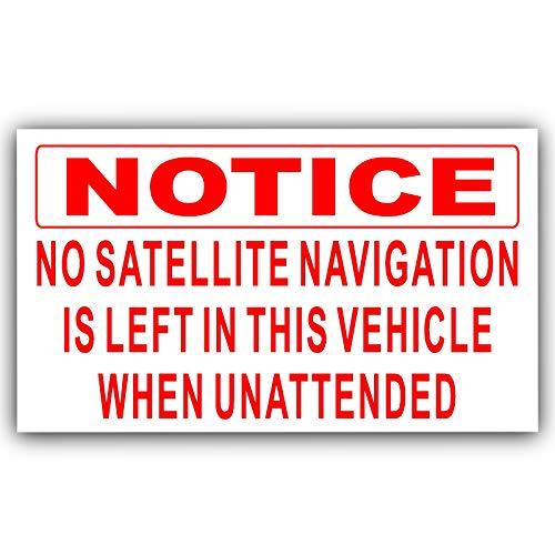 Platina Plaats 1 x Geen Satelliet Navigatie wordt achtergelaten in dit Voertuig wanneer Onnattended-RED op WHITE-Self Zelfklevende Vinyl Sticker-Car,Van,Truck,Taxi,Beveiliging,Veilig,Veilig,Beschermen,Elektronica,Veiligheid,Teken