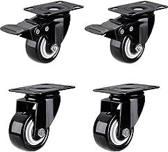 2 inch Casters X4 Keukenkast Flat Cart Universal Casters Zwart Meubels Richting Poelie Heavy Metal met Rem Mute Universal ...