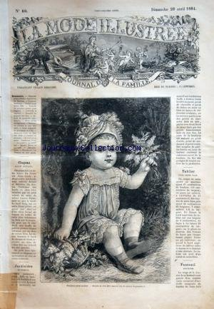 MODE ILLUSTREE (LA) [No 16] du 20/04/1884 - CHAPEAU POUR ENFANT DE CHEZ MME CAMILLE - JARDINIERE EN BAMBOU - FAUTEUIL BERCEUSE - TABLIER POUR JEUNE FILLE