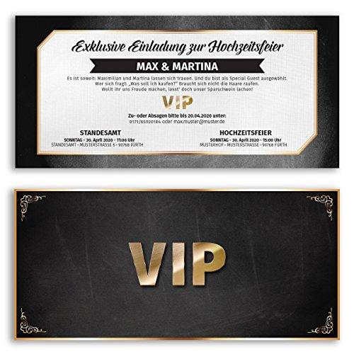 (50 x) Hochzeitseinladungskarten VIP Ticket Gold edel Einladungskarten Hochzeit