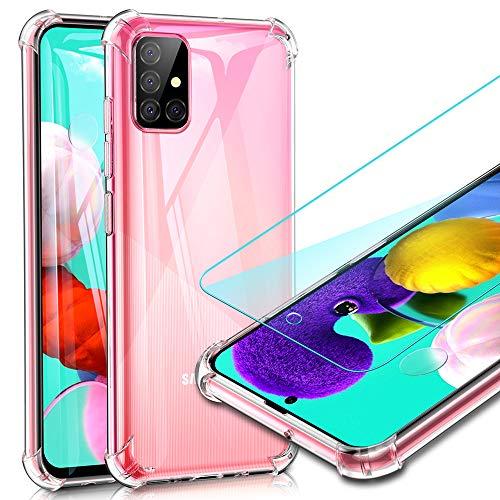 UCMDA Cover per Samsung Galaxy A51 + Pellicola Protettiva in Vetro Temperato, Custodia Trasparente Morbida in Silicone, Pellicola Protezione Schermo in Vetro Temperato per Samsung Galaxy A51