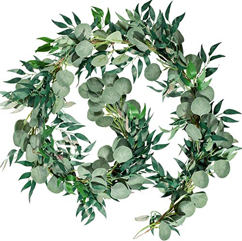 6.5ft Artificial Eucalyptus and Willow Leaves Garland, Faux Silver Dollar Eucalyptus Leaves Garland and Willow Vines Twigs Leaves Garland for Indoor Outdoor Decoration,Wedding Backdrop Arch Wall Decor
