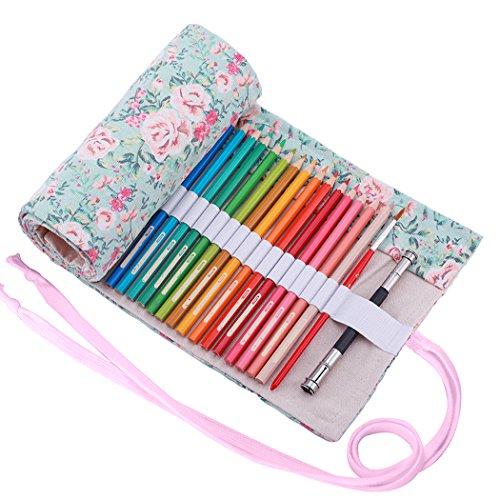Amoyie – Sacchetto della matita portamatite arrorolabile per pennarelli o matite colorate tela borsa - floreale 36 holes