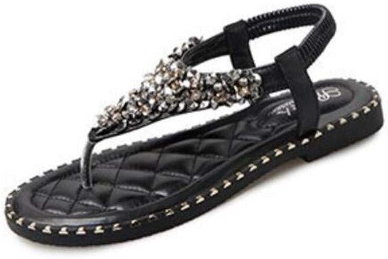 Meimeioo Womens T-Strap Rhinestone Crystal Sandal Flat Slip On Flip Flip