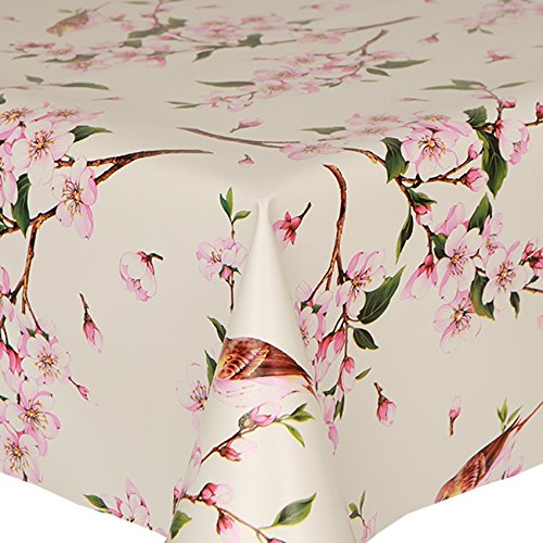 PVC Tablecloth Birds 54' Round (137cm) Approx, Pretty Flowers Oriental Floral Twig Leaves, Pink Brown Latte Green, Wipe Clean, Vinyl/Plastic Table Cloth