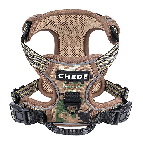chede No Pull Dog Harness,Reflective Vest Harness with 2 Leash ,Adjustable Soft Padded Dog Vest with Easy Control Handle for Small Medium Large Dog (Medium, Camouflage)