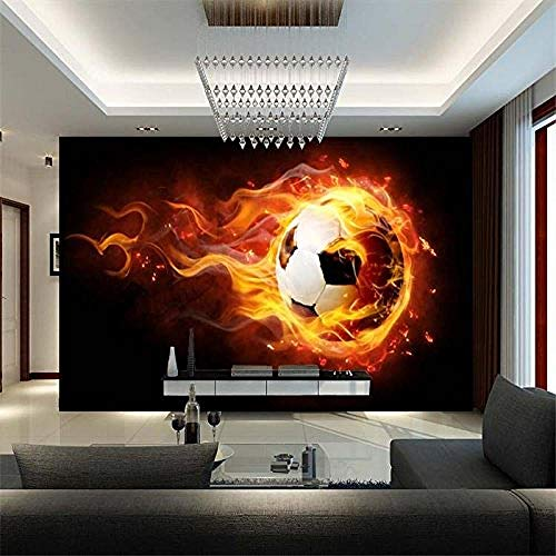 XHXI Customize Any Size 3D Wallpaper Sports Style Flame and Football Home Decor for Living Room Sofa Tv Background Bedro 3D Wallpaper Paste Living Room The Wall for Bedroom Mural border-350cm×256cm