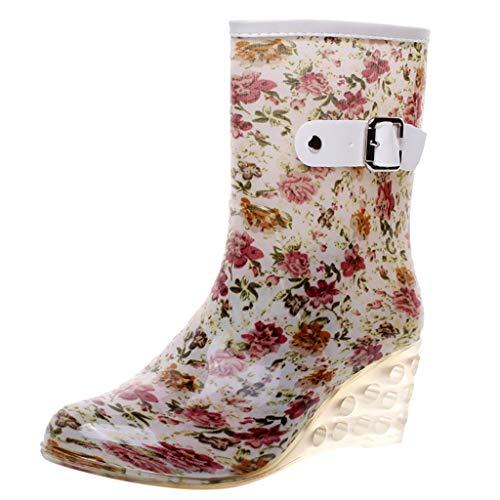 YWLINK Botas De Lluvia Mujer Impermeable Leopardo Zapatos con CuñA Botas De Nieve Estilo Punk Zapatos De Agua Antideslizantes Zapatos De Goma Moda CóModo TamañO Grande Tubo Medio Y Alto(Rojo,38EU)