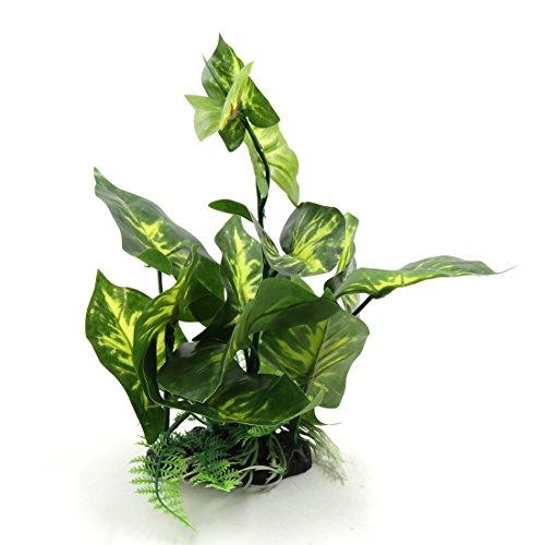 sourcing map Plastikpflanzen für Aquarien Kunststoff Terrarium Behälter Verzierung mit Harz Unterseite Grün