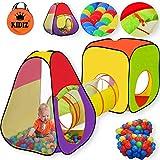 KIDIZ Spielzelt Spielhaus Babyzelt | 200 Bälle | Bällebad | Kinderzelt | Ideal für Zuhause & im Garten | Tasche | Tunnel XL