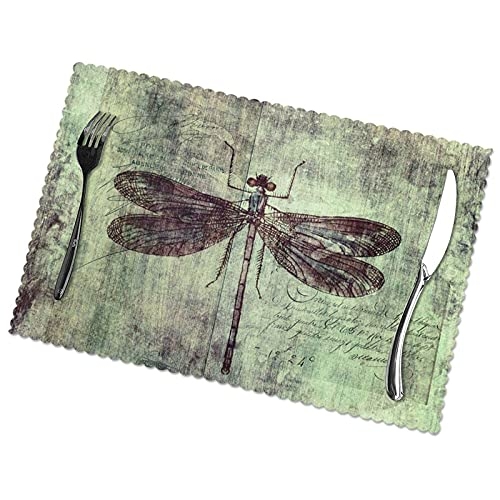 Placemats Set of 6 PVC Dragonfly Specimen Dining Table Washable Table Place Mats for Kitchen Dining Home Decoration,12 X 18 Inch