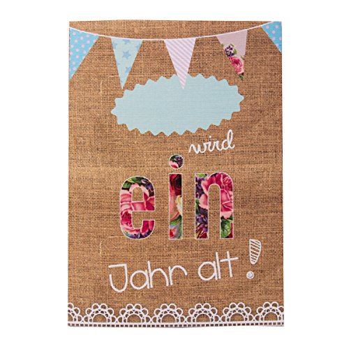 10 Einladungskarten zum ersten Geburtstag für Mädchen/Vintage Pastell Design hochwertig gedruckt/XXL Format DIN A5 / Geburtstagseinladungen für 1. Geburtstag Baby