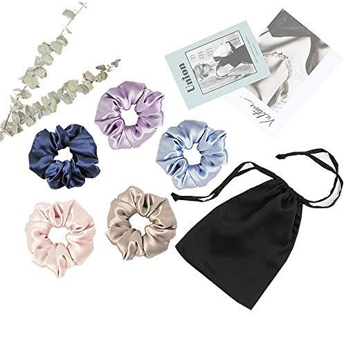 Mommesilk Superweiche Seide Haargummis Haarringe Haarbänder 5er Pack mit Lagerung Taschen Beutel Aufbewahrungsbeutel aus 100% Seide Verpackung MEHRWEG