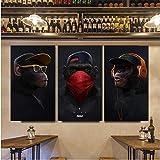 Jwqing Lustiger denkender AFFE mit Kopfhörer-Leinwand-Gemälden Wandkunst-Bild-Plakate und Drucktier für Wohnzimmer-Dekor (30x60cmx3 ohne Rahmen)