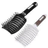 INTVN 2 cepillos de pelo con cerdas de jabalí sin tirones, masajeadores para mujeres – Cepillo ventosa, adecuado para cabello grueso, fino, rizado y mojado