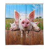 BIGJOKE Duschvorhang, lustige Schweine-Blume, schimmelresistent, wasserdicht, Polyesterstoff, 12 Haken, 167,6 x 182,9 cm, Heimdekoration