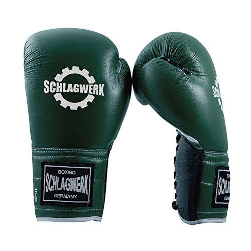 SCHLAGWERK Premium Wettkampf Boxhandschuhe Pro LC Echtleder 16 oz geschnürt für Männer/Frauen/Jugendliche in der Farbe Grün (Schwarz/Weiss abgesetzt)