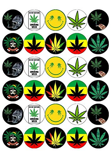 Marvelous 30 Cannabis Leaf Marijuana Weed Ganja Cupcake Toppers Edible Wafer Birthday Cards Printable Trancafe Filternl