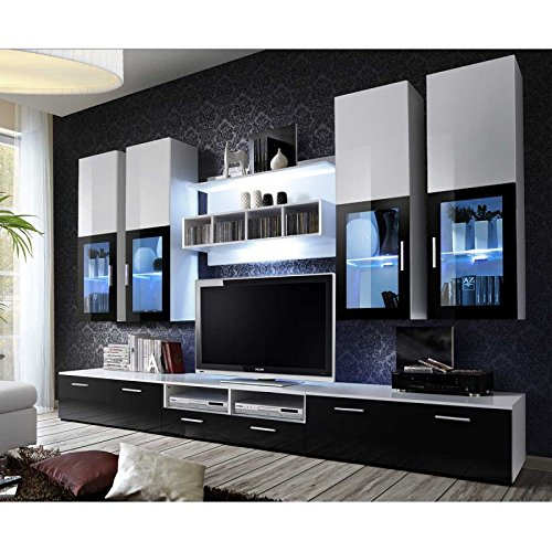 Paris Prix - Meuble TV Mural Design Lyra 300cm Noir & Blanc