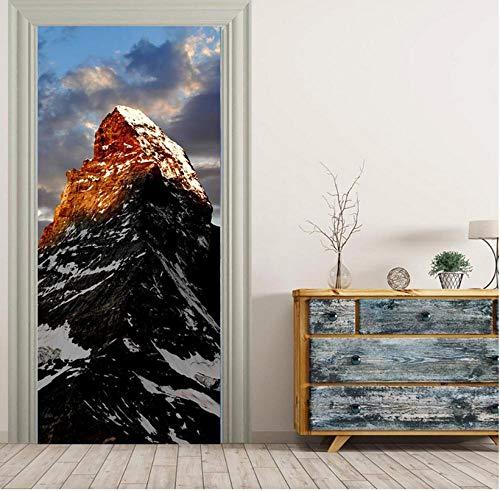 3D-sneeuw, berg, zon, hemel, wandsticker, deursticker, muurpapier, woondecoratie, PVC, zelfklevend, waterdicht, milieuvriendelijk, veiligheid 85 * 200cm