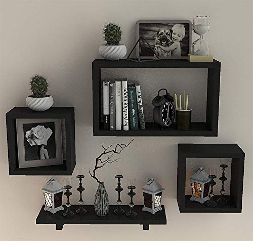 FABULO Wooden Floating Wall Shelf with 4 Shelves - MDF Wall Mounted Shelf for Living Room, Bedroom, Office Decor - Display Rack for Books, Kitchen Wall Storage Unit - Black, Set of 4