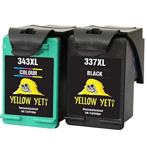 Yellow Yeti Remanufacturados 337 343 Cartuchos de Tinta Negro/Color para HP Photosmart 2500 2570 2573 2575 C4100 C4110 C4140 C4150 C4180 D5160 8049 Officejet 6300 6310 6313 6315 Deskjet D4160 5940
