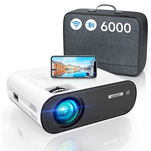 WiFi Projector Bluetooth, WiMiUS 6000L Mini Projector Support 1080P&200