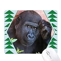 陸生生物が野生動物のチンパンジー オフィスグリーン松のゴムマウスパッド