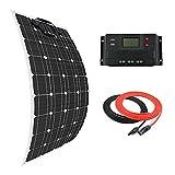 Giosolar Panel Solar 100W Flexible Panel Solar Kit Cargador de Batería Monocristalina con 20A LCD Controlador para Barcos Caravanas Sistema Off-Grid