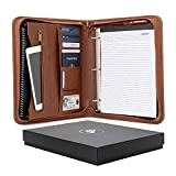 Forevermore Portfolio Padfolio with Zippered Closure, Removable 3 Ring Binder, Letter Size Notepad/Interview and Resume Document Organizer/Notebook and Business Card Holder, Brown