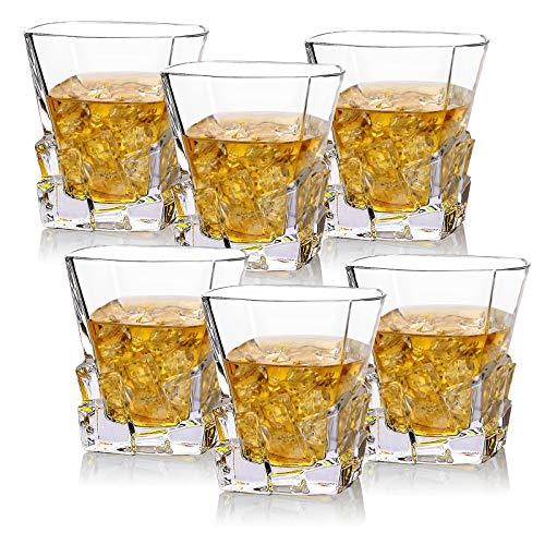 Juego De 6 De Whisky De Cristal, Brandy Chupito Vaso Glass, Modernos Coctel Agua Copa Set, Bonitos Whiskey Basos Martini,...