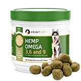 POINTPET Hemp Omega 3, 6 and 9 - Organic Hemp, Fish Oil Mobility Supplement for Dogs - Aids Skin, Immunity, Heart, Gastrointestinal Health - Natural Treats for Soothing Itching, Allergies - 90 Chews