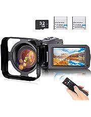 ビデオカメラ Anteam デジタルビデオカメラ HD1080P 16倍デジタルズーム 暗視機能 32GBカード付き(最大128GB) レンズフード付き 予備バッテリーあり リモコン付属 日本語システム 日本語取扱説明書き