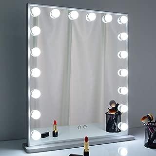 BEAUTME 女優 ハリウッドミラー化粧鏡 ード 明るさ調整 LED電球18個ライト付き 台座付き 卓上/壁掛け両用(シルバー)