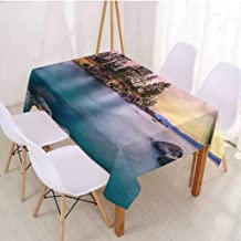 VICWOWONE Lake Camping Picnic Rectangle Tablecloth Easy to Care Tranquil Serene View,Rectangle - W70 x L120 inch